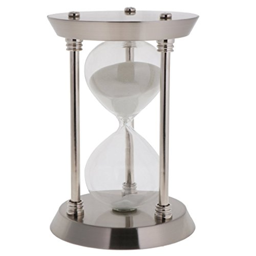 ZYAQ Vintage Metal Frame Hourglass Sandglass Sand Timer Desk Table Book Shelf Home Decoration (15 Minutes, - Hours Sands Silver