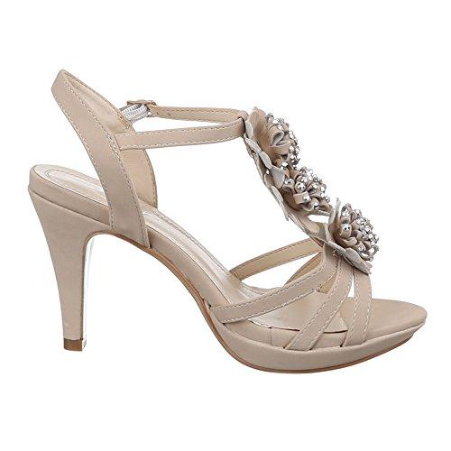 Ital-Design Damen Schuhe, ZH598, Sandaletten Riemchen High Heels Pumps Beige