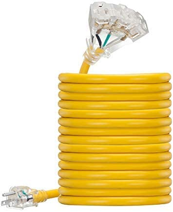 Yellow 100 foot 12 AWG Copper Lighted Multi Outlet Grounded 12//3 Extension Cord 100 ft 12 Gauge UL Listed Heavy Duty Indoor Outdoor SJTW Lighted Triple Outlet Extension Cord by Antkeet