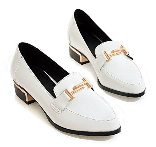 Aisun Kvinna Mode Spetsiga Tå Klänning Bära Till Kontoret För Arbete Halka På Chunky Låga Klackar Loafers Skor Vita