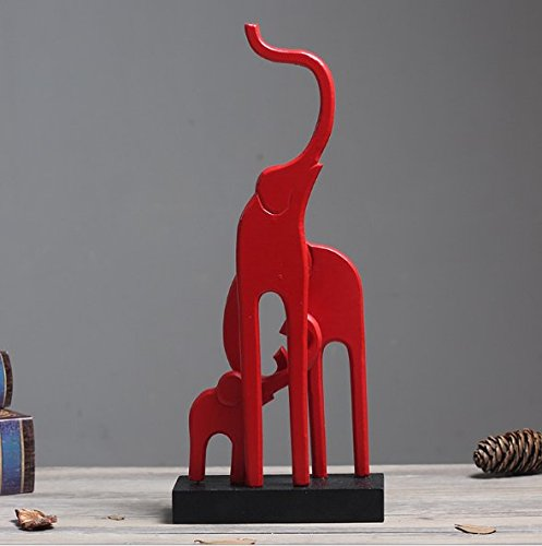 URTop 3Pcs Modern Red Elephant Family Wooden Craft Supplies Animal Statue Sculptures Ornaments Fashion Home Living Room Furnishings Wedding Gifts Handicraft