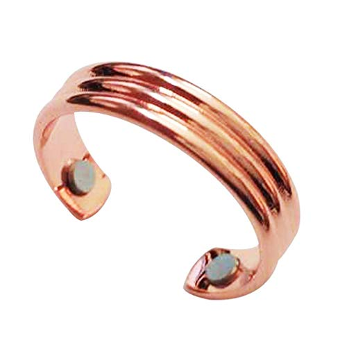 GuGio Magnetic Pure Copper Therapy Ring with 2 Powered Magnets for Keep Slim Lose Weight Rose Gold