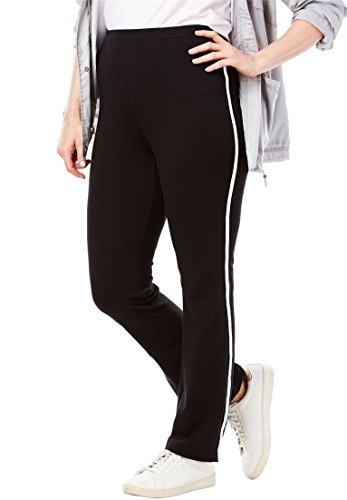 Women's Plus Size Stretch Cotton Side-Striped Bootcut Yoga Pant Black White,2X