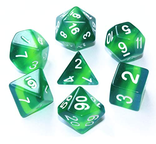 HD DND Polyhedral Dice Set Role Playing Game(RPG) Dice for Dungeons and Dragons(D&D) Pathfinder MTG Table Game Board Games Green Translucent Dice with Silver Glitter