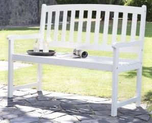 Outdoor Patio Bench Wood   4 Ft, Curved Slat Back, White