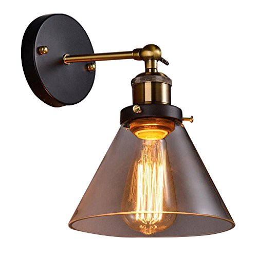 M-zmds Industrial Vintage Wall Lights with Cone Shape Transparent Glass Lampshade Wall Lamp, Adjustable Angle Edison Sconce Wall Lamp Antique Finish for Loft Bar Kitchen Lighting (Cone Glass Shade Wall Lamp)