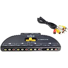 JUYO VONSAN 4 Way Audio Video Switch Selector Box Splitter with RCA Cable for VCD / DVD / Video Camera / Recorder / Video Game