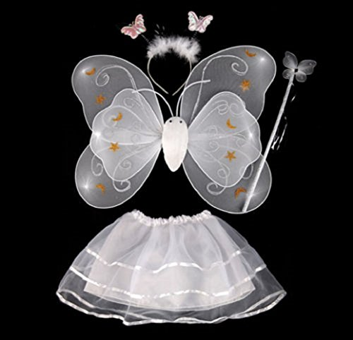 [Fairy Butterfly Wing 4 Piece Set Costume Tutu Ballerina Dress up Dance skirt by Mammoth Sales] (Girls Cute Kids Costumes)