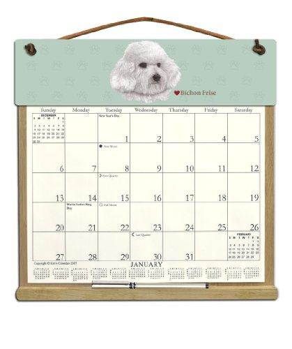 Wooden Refillable Dog Calendar Holder filled with 2019 and an order form for 2020-BICHON FRISE - Bichon Frise Calendar Holder