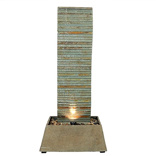 Sunnydaze Spiraling Slate Outdoor Water Fountain with LED Lights, Freestanding Patio and Garden Waterfall Feature, 49 Inch Tall