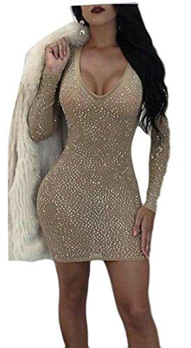 Jaycargogo Femmes Sexy Mince Forme V-cou À Manches Longues Robes Club Moulante Couleur Kaki