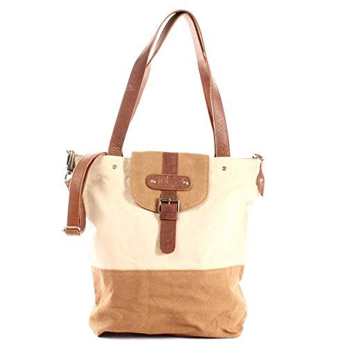 bandoulière à C à main shopping pour LECONI Sac Vintage de cognac en look pour Large et toile 38x35x11cm dames Sac cuir sac beige dames LE0053 5B7EqO78