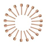 Sohapy 24 Pack 3.1'' Mini Wooden Honey Dipper Sticks Spoon for Server for Honey Jar Dispense Drizzle Honey,Party, Wedding Favors