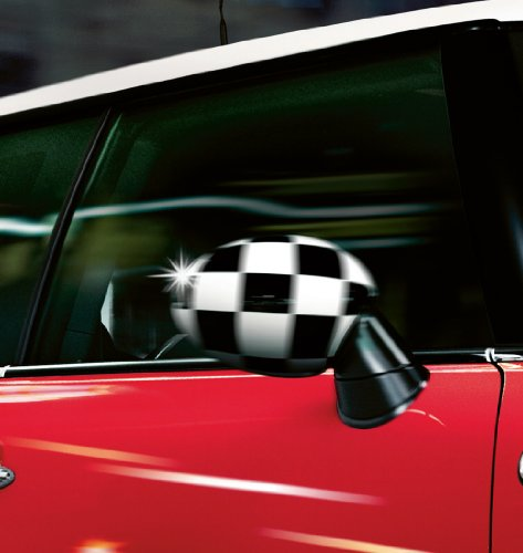 MINI Cooper, Clubman, Convertible, Coupe and Roadster Checkered Mirror Caps Right and Left 2007-2013 with NO Powerfold ()