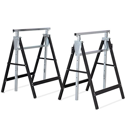 GJH One Sawhorse Height Adjustable Folding Heavy Duty Trestle Capacity Sawhouse Brackets 440 lbs 2 Pack (For Sale Sawhorse)