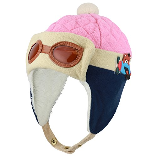 Lined Aviator (Trendy Apparel Shop Infant To Toddler Pilot Fur Lined Aviator Winter Hat With Ear Flaps - Pink)