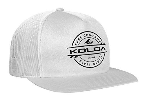 Koloa Surf(tm) Thruster Logo Mesh Back Trucker Hat in WhiteWhite with Black Logo
