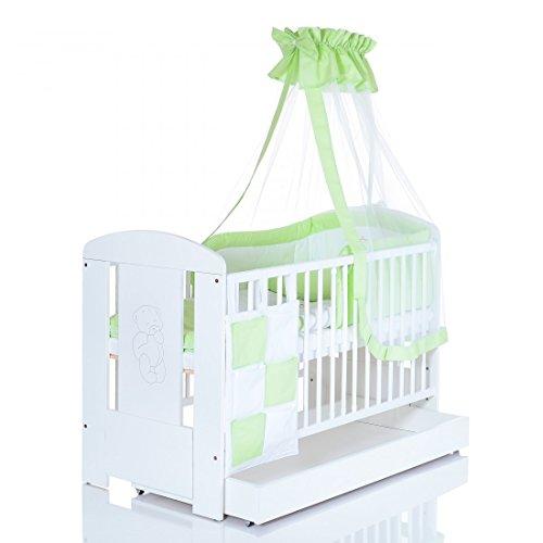 Baby Kinderbett SNOW 120x60 cm in weiss mit 9 teiligen Bettwäsche Komplettset und Matratze