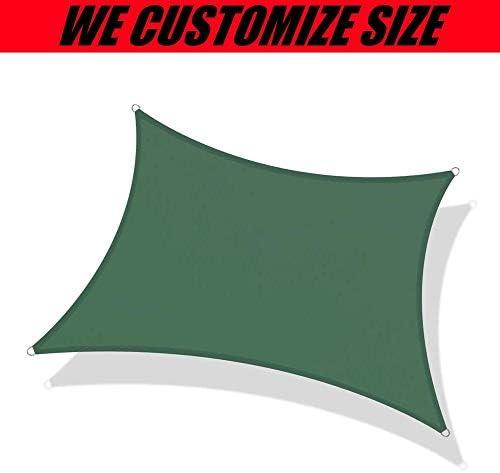 UV保護付き長方形シェードセール、テラス、デッキ、庭園、屋外、キャノピー、バーベキューエリア、スイミングプール、子供用の遊び場用の緑の日よけ