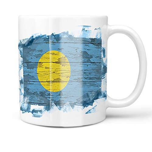 Neonblond 11oz Coffee Mug Flag on Wood Palau with your Custom Name