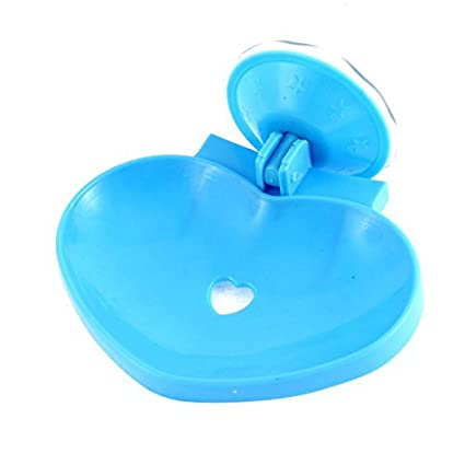 Plástico Símbolo do Coração oco Out sucção Soap Cup Titular Dish bandeja azul