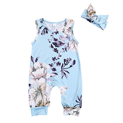 YOUNGER TREE Newborn Baby Girls Romper Jumpsuit Full Flower Long Sleeves Bodysuit Infant Toddler Headband Clothes (Light Blue, 6-12 Months)