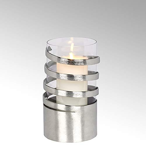Lambert Spiral Windlicht Aluminium mittel matt gebürstet mit Glaseinsatz H27cm D14cm/ Glaseinsatz H18,5cm D12,5cm 40885