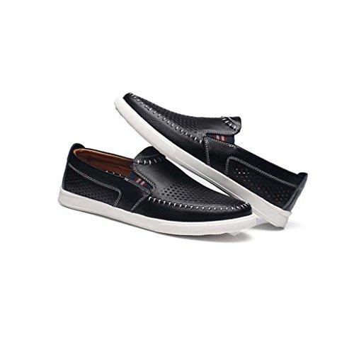ZXCV Zapatos al aire libre Los zapatos ocasionales de los hombres del verano huyen los zapatos de cuero de cuero de la manera de los hombres respirable Negro