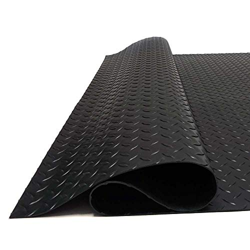 (MMG Heavy Duty Garage Mat - Durable PVC. Embossed Diamond Plate Pattern, 3.5 x 6 feet. Mats Will Protect Your Floors, Reduce Noise. Quick and Easy)