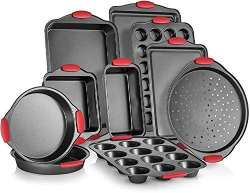 Perlli 10-Piece Nonstick Carbon Steel Bakeware Set With Red Silicone Handles    Metal, Reusable, Quality Kitchenware For Cooking & Baking Cake Loaf, Muffins & More