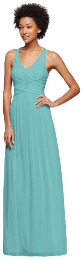 David's Bridal Mesh Long Bridesmaid Dress with Crisscross Back Style W10974, Spa, 16 by David's Bridal