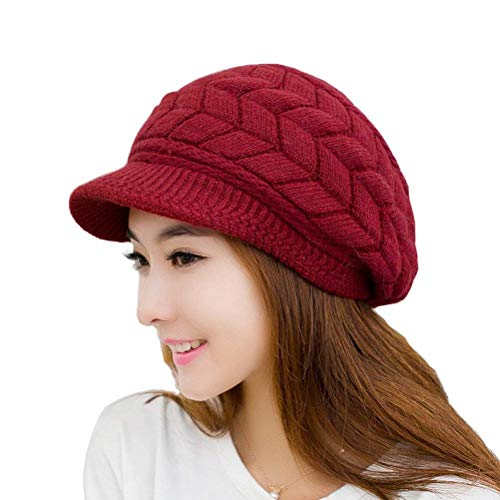 HINDAWI Women Winter Hat Warm Knit Wool Snow Ski Caps With Visor (Wine)