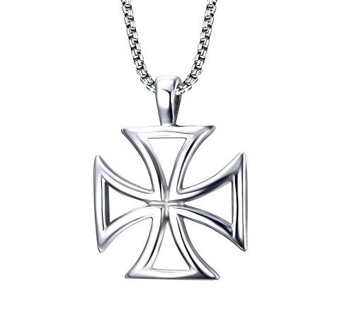 [Titanium Steel Hollow Crusaders Templar Knights Cross Pendant Necklace for Men, 24