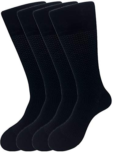 CD 4-Pack Mens Bamboo Crew Socks | Diabetic, Hypoallergenic, Antibacterial, Fiber Socks | for Work, Casual and Dress (Black Herringbone Crew)