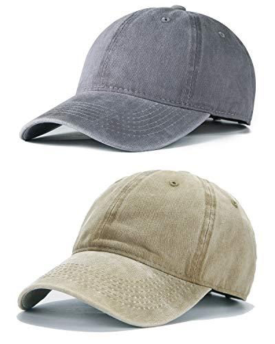(Edoneery Men Women Plain Cotton Adjustable Washed Twill Low Profile Baseball Cap Hat(Set 2) )