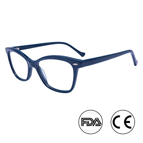 Fashion Round Optical Eyewear Frame Clear Lens Glasses for Women WD1055 (Blue, 51)