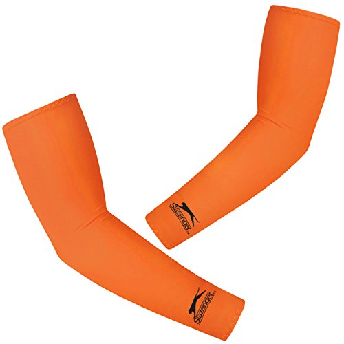 New 1 Pair Unisex Compression Fit Sports Cooling Cover Arm Sleeves UV Protection Outdoor Activities for Cycling, Football, Baseball, Running, Baseketball (Orange)