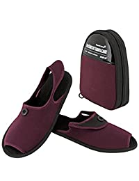 Travel Icons Fold and Go Non-slip Travel Slippers Folding Shoes with Storage Bag (Medium, Red)