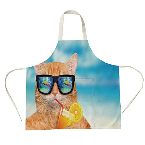 - 3D Printed Cotton Linen Big Pocket Apron,Funny,Cat Wearing Sunglasses Relaxing Cocktail in The Sea Background Summer Kitty Image,Blue Ginger,for Cooking Baking Gardening