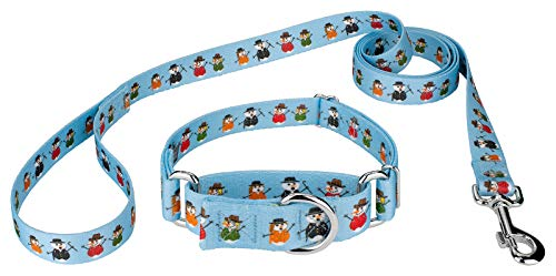 (Country Brook Petz | Caroling Snowmen Martingale Dog Collar and Leash Set- Christmas Collection with 11 Designs (Medium))