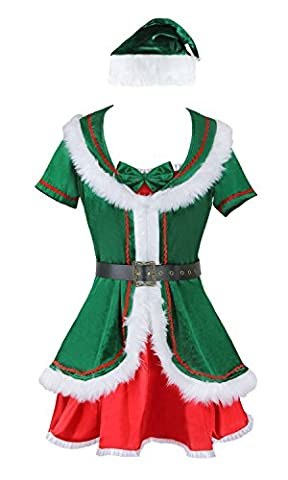 Kimring Women's Plus Size Cute Santa's Helper Christmas Holiday Honey Elf Costume Green (Plus Size Di Santa Suit)