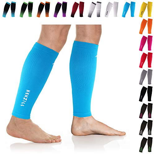NEWZILL Compression Calf Sleeves (20-30mmHg) for Men & Women - Perfect Option to Our Compression Socks - for Running, Shin Splint, Medical, Travel, Nursing, Cycling (S/M, Solid Blue)