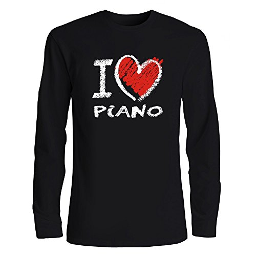 Idakoos I Love Piano Chalk Style Heart Musical Instrument Long Sleeve T-Shirt