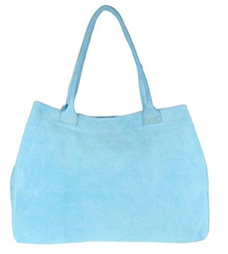 Light Italian Girly HandBags Shoulder Blue Expandable Leather Bag Suede rrSEBw0x
