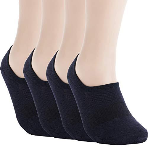 Pro Mountain Men's No Show Flat Cushion Athletic Cotton Footies Sneakers Sports Socks (M(US Women Shoe 7.5~9.5 = Men 6.5~8.5, size10 Unisex), Navy 4pairs Pack M-size)
