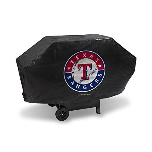 Rico Industries MLB Texas Rangers Deluxe Grill Cover, Black, 68 x 21 x 35 ()