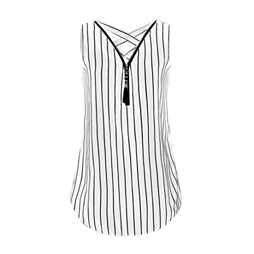 - CUCUHAM Women Loose Sleeveless Tank Top Cross Back Hem Layed Zipper V-Neck Striped Tops(K-White, M)