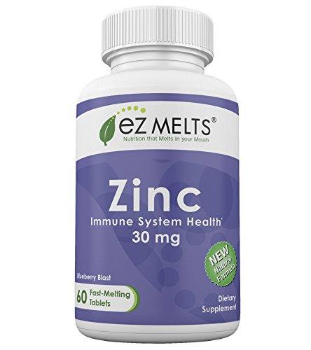 EZ Melts Zinc, 30 mg, Dissolvable Vitamins, Vegan, Zero Sugar, Natural Blueberry Flavor, 60 Fast Melting Tablets, Zinc (Chewable Zinc Vitamins)