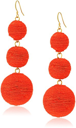Kenneth Lane Coral Earrings - Kenneth Jay Lane Coral Thread Ball Drop Earrings