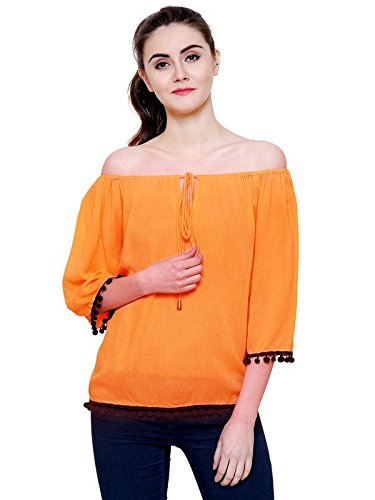 16d6b17e48e FLICKZON Women Orange Rayon Crepe Off Shoulder Western wear top with Plus  Size M to 7XL  Amazon.in  Clothing   Accessories